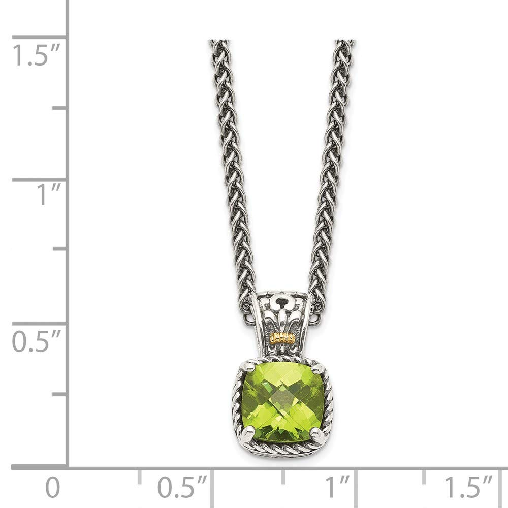 Mia Diamonds 925 Sterling Silver and 14k Yellow Gold Peridot Necklace