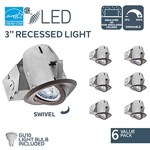 Nadair 6 Pack 3 inch LED Swivel Dimmable Downlight Spotlight Recessed Light Energy Star Complete Kit Contractor's Deal, 6 x LED Gu10 550 Lumens Lightbulb (50W Equivalent), ORB, IC Rated