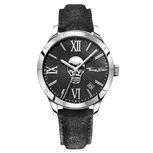 Thomas Sabo Herren-Armbanduhr Rebel at Heart - ICON Skull Analog Quarz Leder WA0210-218-203-43 mm