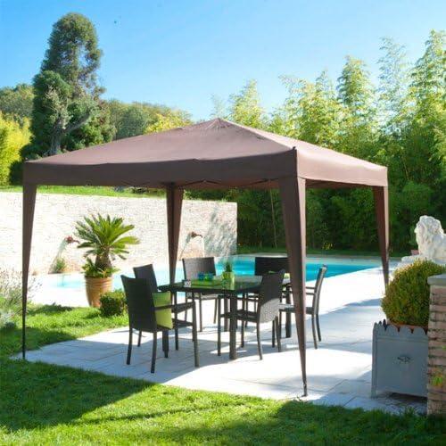 Cenador plegable para el jardín 3x3m de color MARRON CHOCOLATE - Hecho de ALUMINIO tratado con epoxi, calidad de LUJO - Se monta y se desmonta en poco minutos: Amazon.es: Jardín