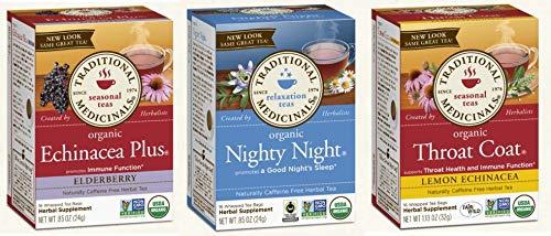 Traditional Medicinals Tea - Organic Variety Sampler - (Pack of 48 Tea Bags | 3 Boxes) Nighty Night, Throat Coat Lemon, Echinacea Plus Elderberry, Naturally Caffeine Free Herbal Tea
