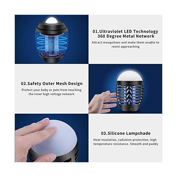 mimoday Lampada Antizanzara Elettrica per Esterno, 2-in-1 Trappola per Zanzare Lanterna da Campeggio Lampada da Tenda… 6 spesavip