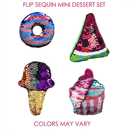 Dessert Flip Sequin Mini Set - 4 PCs, Toys for Boys and Girls, Color Changing Fabric, Bulk Birthday Party Favors for Kids, Elementary School Treasure Box Prizes for Classroom, Xmas Stocking Stuffers