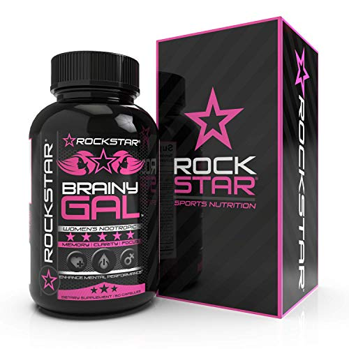 Rockstar Brainy Gal – Extra Strength Brain Supplement for Clarity, Focus, Memory- Mental Performance Nootropic with Ginkgo Biloba – Scientifically Formulated for Optimal Performance