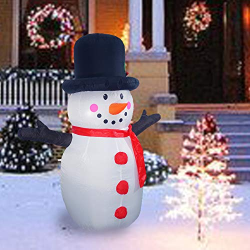 Sunlit 4.5ft Lighted Airblown Snowman Christmas Inflatable Yard Decoration with Blower and Adaptor for Festive Indoor Porch Outdoor Decor