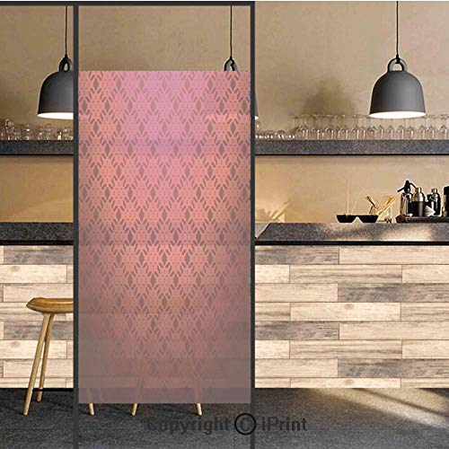 (3D Decorative Privacy Window Films,Damask Textured Geometric Figures Romantic Style Vintage Art Print,No-Glue Self Static Cling Glass Film for Home Bedroom Bathroom Kitchen Office 17.5x48 Inch)