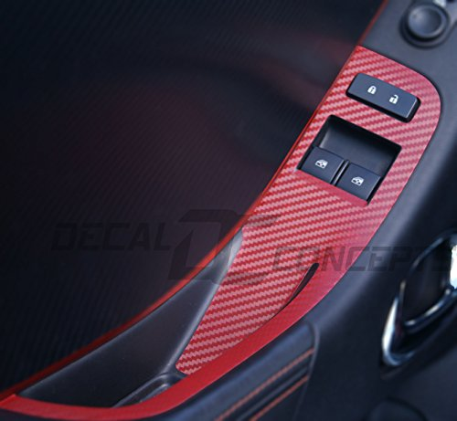 Camaro RED Carbon Fiber Door Switch Panel Trim Accent Decal kit (2012-2015)