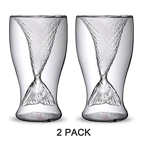 Homecube 2 Pack Creative Personality Mermaid Handmade Glass Cup Ice Cream Cup Double High-temperature Glass of Red Wine (Mermaid Glass Shot)