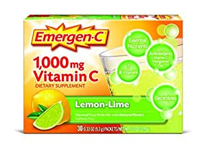 Emergen-C Dietary Supplement Drink Mix with 1000 mg Vitamin C, 0.33 Ounce Packets, Caffeine Free (Lemon-Lime Flavor, 30 Count)