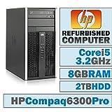 HP Desktop Computer Compaq Pro 6300 MT Intel Core i5-3470 3.20GHz 8GB Ram 3TB Hard Drive DVD Windows 10 (Certified Refurbished)