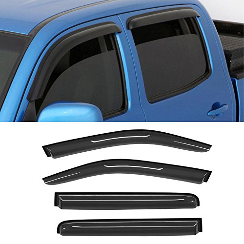 Mifeier Smoke Sun/Rain Guard Vent Shade Window Visors For 05-16 Nissan Frontier Crew Cab (With 4 Full Size Doors) (Frontier Accessories)