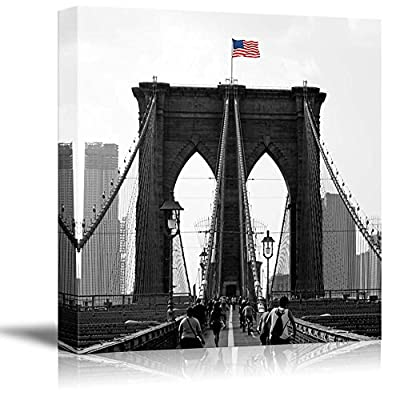 That's 100% USA Made, Majestic Expertise, Black and White Photograph with Pop of Color on The USA Flag Above The Brooklyn Bridge