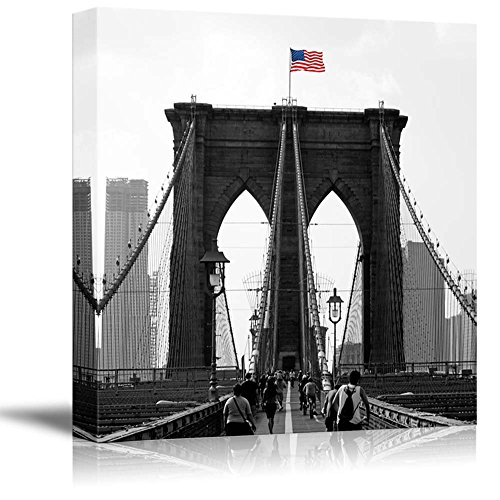 Black and White Photograph with Pop of Color on the USA Flag Above the Brooklyn Bridge
