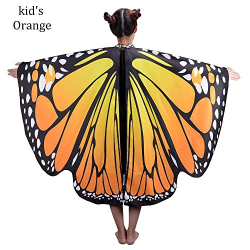 Kids Children,Butterfly Wings Dress-up Shawl Cape,Halloween,Baby Cartoon,Costume Play for Boys Girls, Size,42.5-53.5 inch,Belly Dance,Polyester,7 styles(Orange) for $<!--$14.99-->