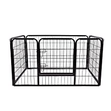 PawHut Metal Dog Cat Exercise Pet Playpen, 49.2-inch x 31.5-inchx 27.6-inch, Black