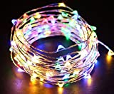 The Original Starry String Lights Multi Color LED's on a Flexible Silver Copper Wire - 20ft LED String Light with 120 Individually Mounted LED's. Set the Mood You Want Anywhere! - Perfect For Creating Instant Appeal in Any Setting - Parties, Bedrooms, or an Intimate Environment Anywhere in the Home and Christmas Decoration, Waterproof LEDs