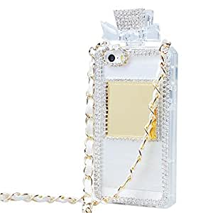 Unique Handmade Auger Crystal Perfume Bottle Shaped with Chain Handbag Telephone Case Bowknot Style for iPhone 4 / iPhone 4S Color White