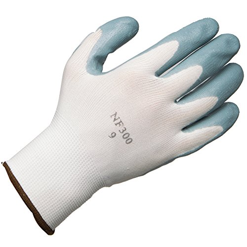 AMMEX - C225-L - Work Gloves - Stretch Nylon Nitrile Dipped  - 12 pairs/bag;25 bags/case, Large, White/Gray(Case of 300) by Ammex (Image #2)