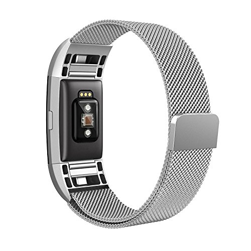 Adepoy Fitbit Charge 2 Bands, Metal Milanese Stainless Steel Replacement Accessories Magnetic Watch Band for Fitbit Charge 2 Small Silver