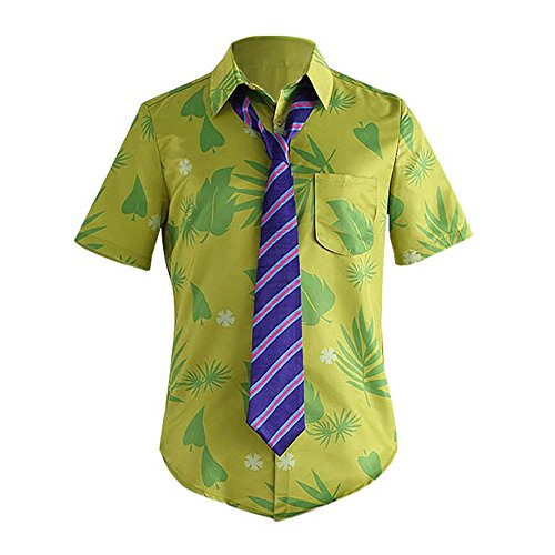 Adult Fox Nick Wilde Cosplay Costume Green Hawaii Style T-Shirt Tie (Nick Kitchen)