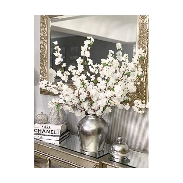 Larksilk Premium White Cherry Blossom Flowers – 36″ Tall Silk Flowers for Home, Event, Office, Party, Wedding Decorations (4 Full Pieces)
