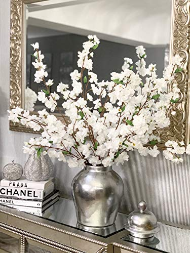 Larskilk Christmas White Cherry Blossom Flowers, Four 36 Inch Blossom Branches, Wedding, Party, Event, Xmas Holiday Décor, Japan's National Flower (Branches Silk)