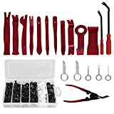 Tonsiki 119 Pieces Trim Removal Tool Set, Including 100PCS Car Clips Push Fasteners Retainer Pins Kit and 19PCS Car Panel Removal Tool Set with Storage Bag