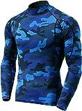 Tesla TM-MUT12-MBL_Medium Men's Mock Long-Sleeved T-Shirt Cool Dry Compression Baselayer MUT12