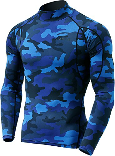TSLA Men's Mock Long-Sleeved T-Shirt Cool Dry Compression Baselayer Top, Athletic(mut12) - Camo Blue, Small. ()