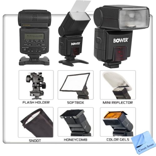 Pro Series TTL Power Zoom Shoe Mount Flash For Nikon D600, D700, D800, D800E Digital SLR Cameras. Kit Includes: Power Zoom Autofocus Dedicated Flash w/ LCD, Honeycomb, Color Gels, Tripod Flash Holder, Softbox Diffuser, Mini Reflector, Snoot & CS Microfiber Cleaning Cloth