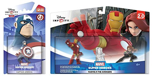 Disney Infinity Marvel Costumes (Disney Infinity 2.0: Marvels Avengers Playset: Iron Man + Black Widow w/ Captain America - Figure Set NEW)