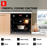 """Single Wall Oven, GASLAND Chef GS606DB 24"""" Built-in Natural Gas Oven, 6 Cooking Functions Convection Gas Wall Oven with Rotisserie, Digital Display with Mechanical Knob Control, Black Glass Finish"""
