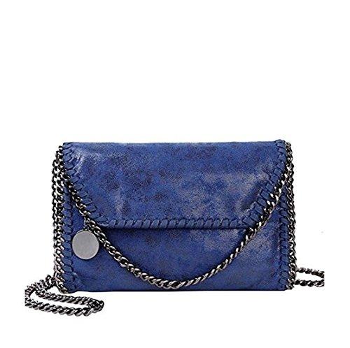 Wewod Las Mujeres de Cuero Vintage Cadena Bolso Femenino Crossbody Bolsas de Hombro 28* 18 * 8cm (Largo * Alto * Grueso) Azul