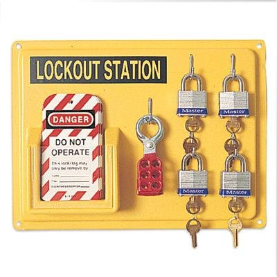 Complete Lockout Station Includes: -4 3D, -1 ELA290, (3)R60ML by North Safety