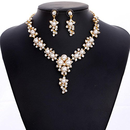 Honghu women's Gold Filled Pearl Clear Austrian Crystal Necklace Earring Set (Rhinestone Crystal Filled Earring Necklaces)