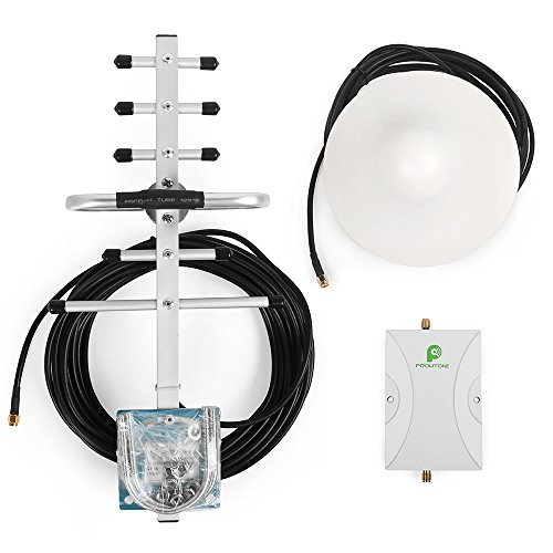 PROUTONE Cell Signal Booster Cell Phone Amplifier GSM Repeater with Ceiling Antenna and Directional Yagi Antenna 850 1900 mhz 65dB 1900 Mhz Yagi