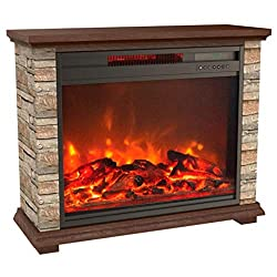 LIFE SMART Large Infrared Stone Remote Lifesmart Faux Electric Fireplace, Extra by Lifesmart