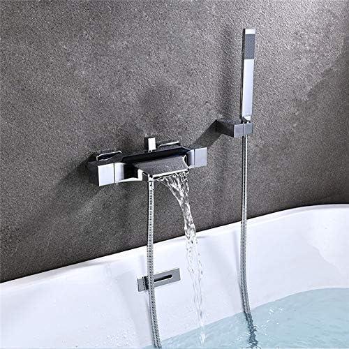 浴槽のシャワーセットの壁に取り付けられた滝の浴槽の蛇口、ハンドシャワー付きの浴槽の蛇口、冷たいおよび熱い浴室のシャワーの混合栓,クロム