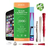 JEMESI Battery Model iP6S, 0 Cycle with Replacement Repair Tool Kits,Adhesive Strip,Instruction and Screen Protector[24-Month Warranty]