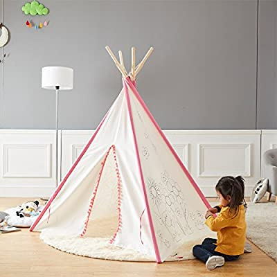 Asweets Indoor Indian Teepee Toy Castle Children Game Play House Tent Paintable teepee (Pink)