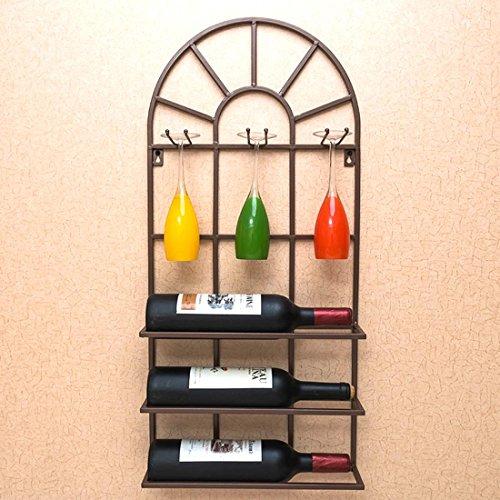 - LUMGER Wall Mount Wine Rack Metal Semicircle Door Restaurant Bar Housewares, BROWN