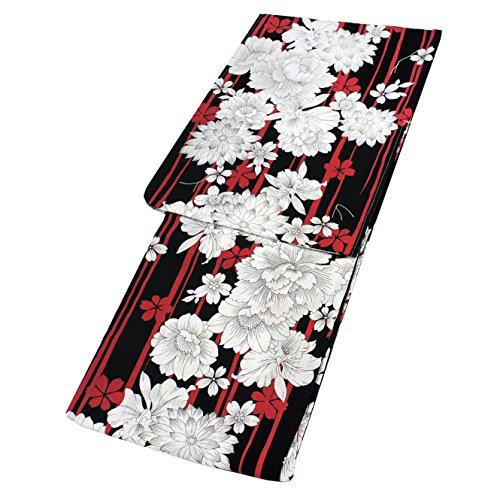 援助する等々衝突コース浴衣 レディース 単品 線画花尽くし 黒×赤 フリーサイズ
