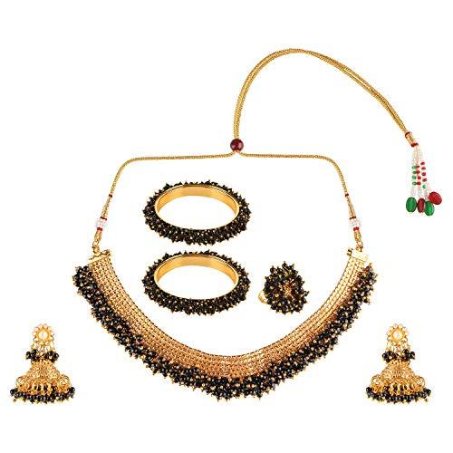 Efulgenz Indian Bollywood 14 K Gold Plated Faux Pearl Bead Bridal Choker Necklace Earrings Bracelet Bangles Ring Jewelry Set (14k Black Jewelry Set)