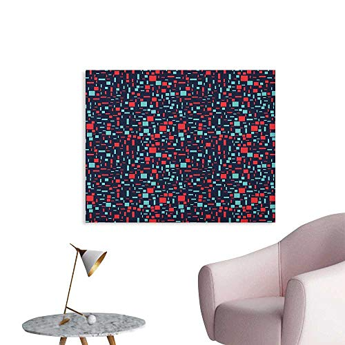 (Anzhutwelve Geometric Photo Wall Paper Abstract Arrangement with Stripes and Squares on a Dark Background Art Poster Dark Blue Red Turquoise W36 xL32)