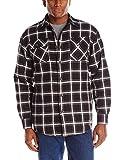 Wrangler Authentics Men's Long Sleeve Sherpa Lined Flannel Shirt Jacket, Caviar, X-Large