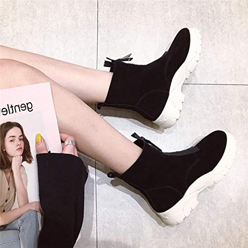 LBTSQ Fashion Damenschuhe Freizeit - Schuhe Heel 4Cm Schleifmittel Leder Leder Leder Runden Kopf Dicke Sohle Stiefel Samt Lok - Flut 63cd8b