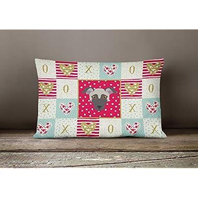 Caroline's Treasures CK5182PW1216 Argentine Pila Dog Love Canvas Fabric Decorative Pillow, 12H x16W, Multicolor : Garden & Outdoor