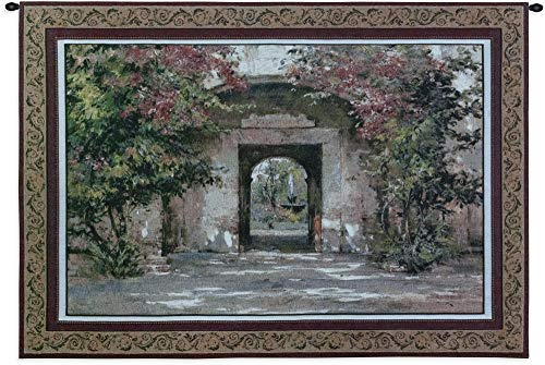 Flowered Doorway by Cyrus Afsary | Woven Tapestry Wall Art Hanging | Erene Path Flowered Arch Doorway Garden Floral Themed Artwork | 100% Cotton USA - Path Tapestry Garden