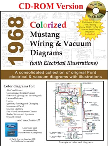 1968 Colorized Mustang Wiring & Vacuum Diagrams: David E ... on