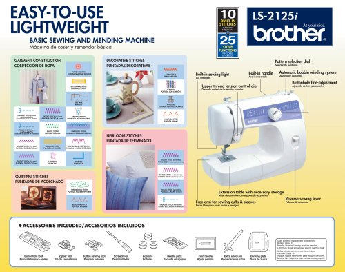Brother LS-2125i - Máquina de coser (Blanco, Máquina de coser manual, Costura, Paso 4, 5 mm, Giratorio): Amazon.es: Hogar